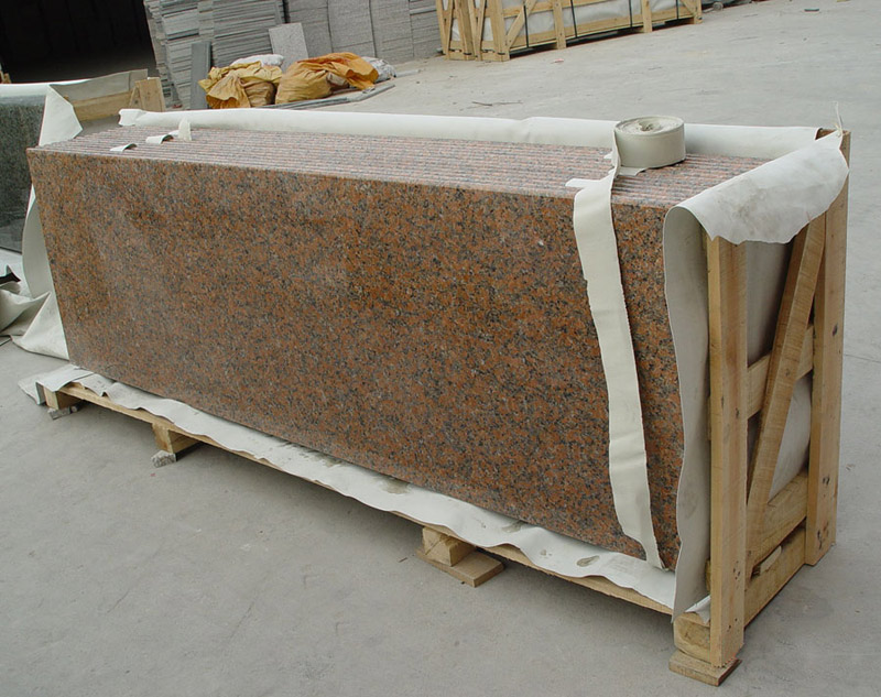 Maple red granite countertops for Maple slab countertop