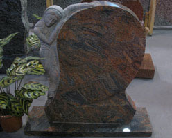 Carved Granite Tombstone