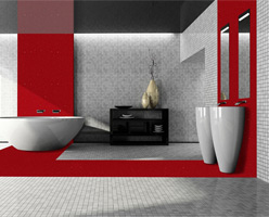 Ruby Quartz Bathroom Panel