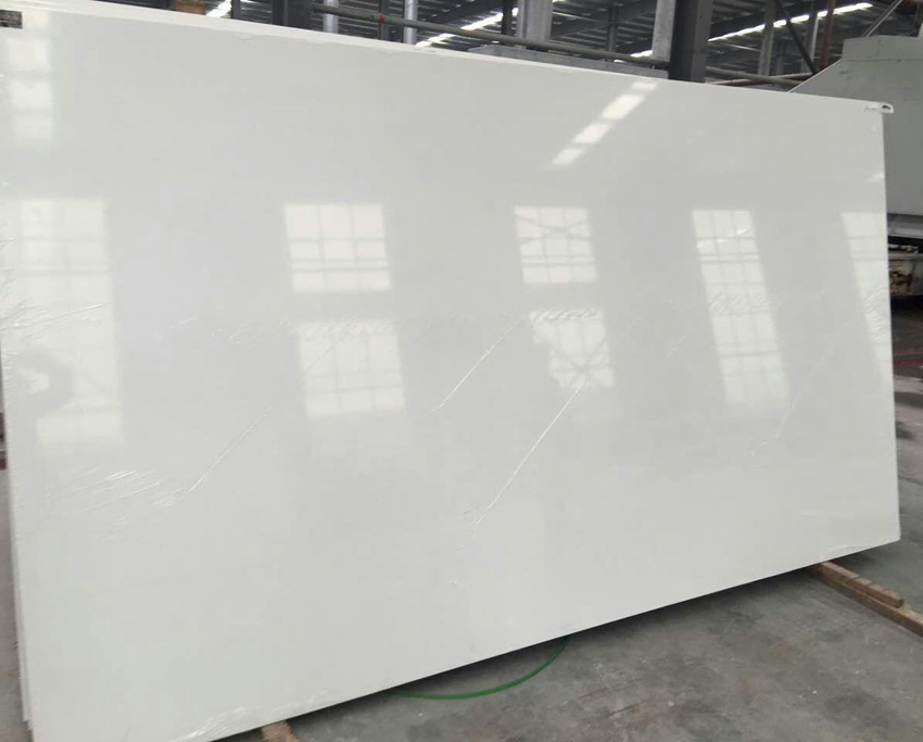 Pure white quartz slabs for Quartz slab size