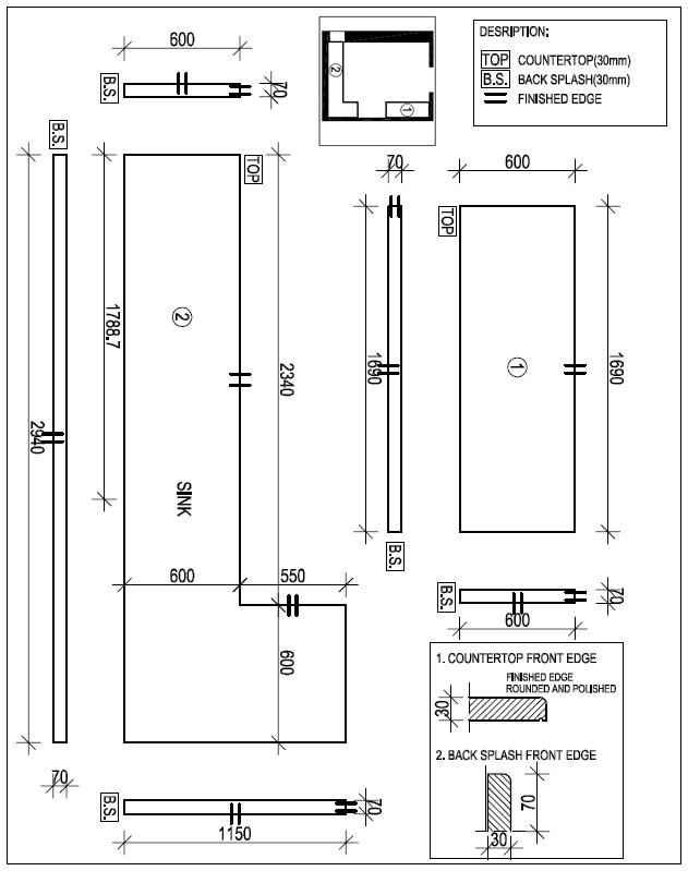 Kithcen Counterop Sketch Drawing Ks001 Granite And Marble Countertops