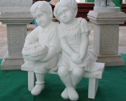 White Marble People Sculptures