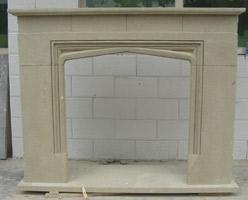 Beige Sandstone Fireplace