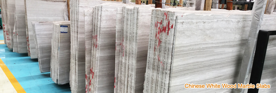 White Wood Marble Slabs